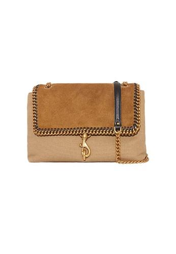 REBECCA MINKOFF beige Rebecca Minkoff Edie Flap Shoulder Bag With Woven Chain Military HU21TBOD38 C839EAC98F3B23GS_1