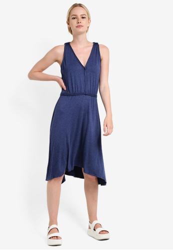 Max Studio blue Knit Sleeveless V Neck Dress MA703AA31NOUMY_1