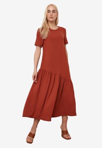 Trendyol red Asymmetrical Ruffle Detail Maxi Dress C7677AA418918FGS_1