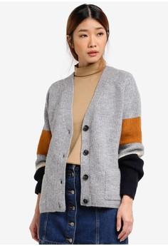 Image of Colour Block Knit Cardigan