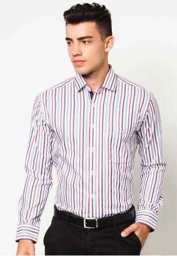 直條紋合身長袖襯衫, 服飾,esprit門市地址 服飾