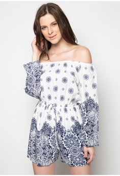 Off Shoulder Aztec Print Romper