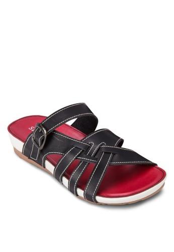撞色交zalora 包包評價叉帶厚底涼鞋, 女鞋, 楔形涼鞋