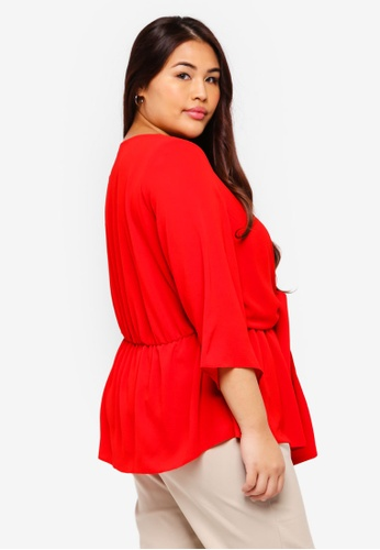 8b2fa9585ed Buy Dorothy Perkins Plus Size Red Manipulated Tie Top Online on ZALORA  Singapore