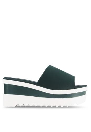 Nose green Lycra Stretch Slide Heel Wedge Sandals NO327SH0S6U8MY_1