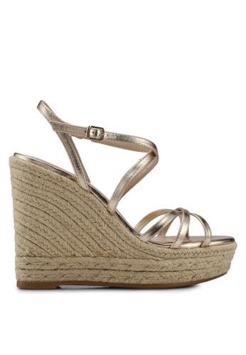 Mango gold Wedge Criss-Cross Sandals 52BBFSH6716A0CGS_1
