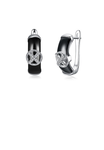 Glamorousky white 925 Sterling Silve Simple Elegant Noble Black Ceramic Earrings with Cubic Zircon F71A3ACFA0D435GS_1