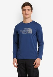 The North Face blue Faster Hike Long Sleeve Logo Tee TH274AA0S7JCMY_1