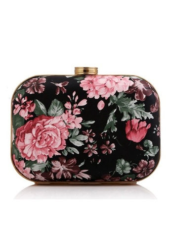 The Papillon Design black and pink Papillon Clutch - Floral Print TH964AC40KDNMY_1