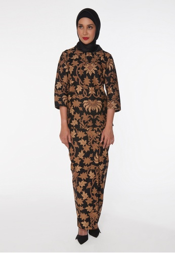 House Of Olsha black and brown Batik Cotton Kurung Kedah - Damba 6D39AAAFF71659GS_1