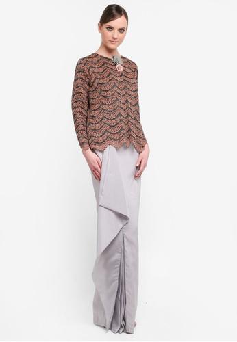 Kree for ZALORA grey and red Ritisya Drape Skirt Lace Kurung KR498AA0STGGMY_1