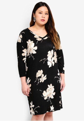 Only CARMAKOMA black Plus Size Flower Dress 54906AA5D1A5A7GS_1