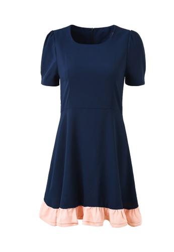 hk-ehunter blue Stitching Round Neckline One piece Dress 13FFFAA578BB53GS_1