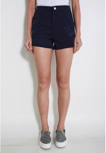 Leline Style blue Yiara Embroidery Shorts LE802AA28ALVSG_1