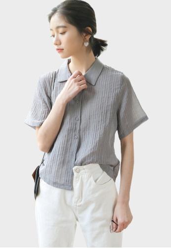 Shopsfashion Textured Blouse in Grey C85C0AA2808DD7GS_1