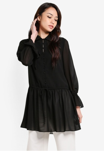 ZALORA black Stitch Button Through Blouse F02E9AA5420D56GS_1