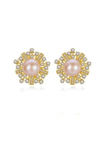 SUNRAIS gold Premium color stone golden flower earrings 19093AC78FB2B7GS_1
