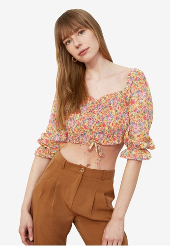Trendyol multi Floral Print Lace Up Blouse 3DB8CAAA0BD190GS_1