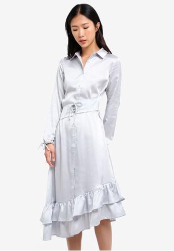 LOST INK grey Corset Waist Frill Hem Dress LO238AA0RVIJMY_1