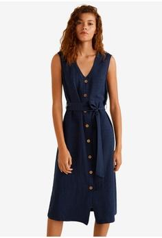 3ad44ca113c MANGO blue Textured Shift Dress B0960AA3F196BEGS 1