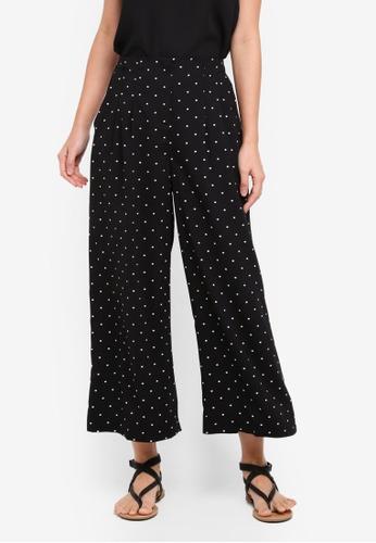 Miss Selfridge black Spot Crop Wide Leg Pants 3837EAA90380E0GS_1