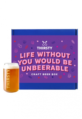 """Thirsty Thirsty """"Life Without You Would Be Unbeerable"""" Craft Beer Gift Box [7 Beers + 1 FREE glass] 2BAE3ES762C2DDGS_1"""