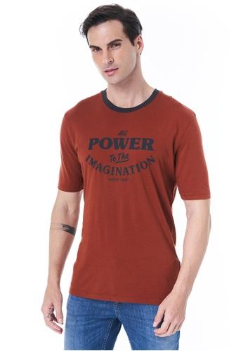 Sisley red Printed T-shirt 76E30AA4EB2EEBGS_1