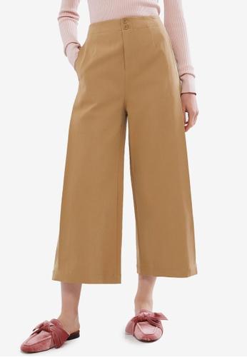 Hopeshow beige High Waist Culotte Pants F33EFAA0AA95DBGS_1