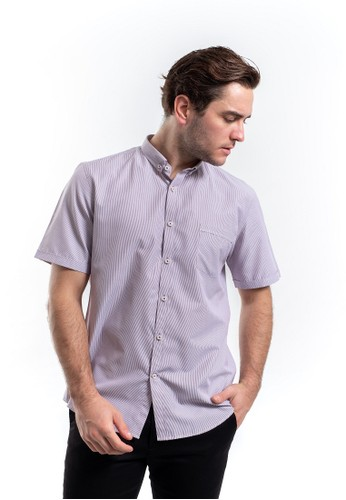 MANLY red Manly Kemeja Slim Fit Friedel Brown Short Sleeve 1D182AADDFFE69GS_1
