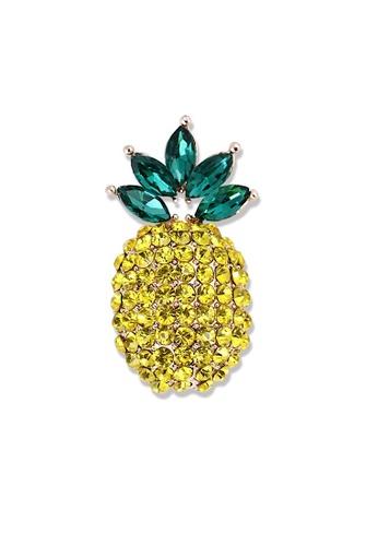 Glamorbit multi Brooch Pineapple Yellow Rhinestone 9C493AC0589ABDGS_1
