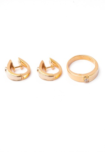 CEBUANA LHUILLIER JEWELRY gold 14 Karat Yellow Gold Earrings And Ring Set With Diamonds A681CAC536DF4AGS_1