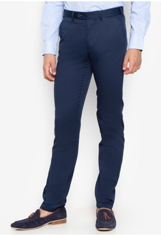 35661a87387b Cortefiel blue Tailored Fit Linen Trousers ABA2BAAA0D90A2GS 1
