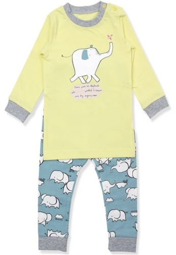 Organic mom yellow and green Organic Cotton Allen Elephant Lightweight Long Sleeves Pjs F8AC3KA0E0C260GS_1