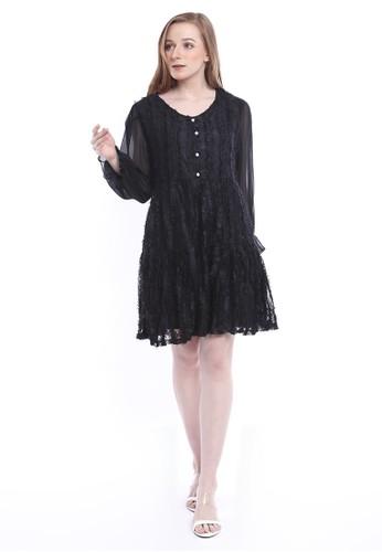 Evernoon black Ariel Mini Dress Wanita Long Sleeves Baju With Furry Design Elegant Regular Fit - Black E650EAA6CAA131GS_1