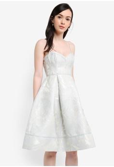細肩帶金屬感提花洋裝