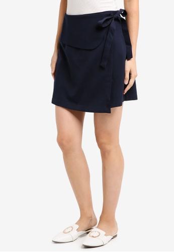 ZALORA navy Tie Wrapped Skirt 15F05AA594DBFCGS_1