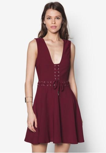 繫帶低胸傘狀洋裝,zalora時尚購物網評價 服飾, 服飾