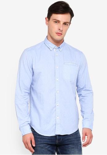 ESPRIT 藍色 長袖襯衫 71E17AA2489C1FGS_1
