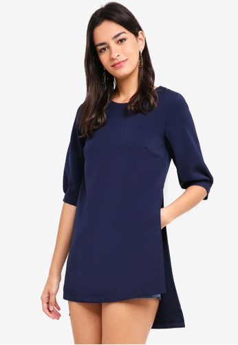 MDSCollections blue and navy Allana Sleeved Romper In Navy 896A2AAA0E144FGS_1