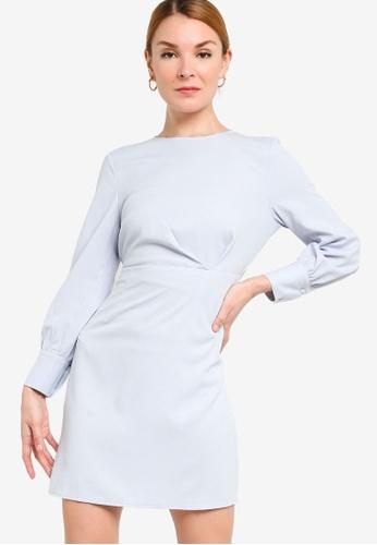ZALORA WORK 藍色 Pleat Detail Long Sleeves Sheath Dress 7D7B7AA02C5429GS_1