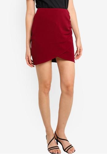 ZALORA BASICS red Wrap Ruched Mini Skirt 4A852AA35600C8GS_1