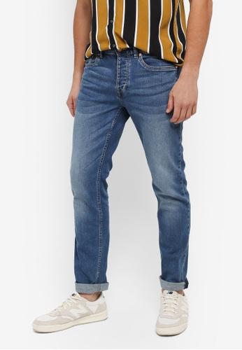 Topman grey Washed Blue Stretch Slim Jeans 9DE7BAA0FAF5BAGS_1