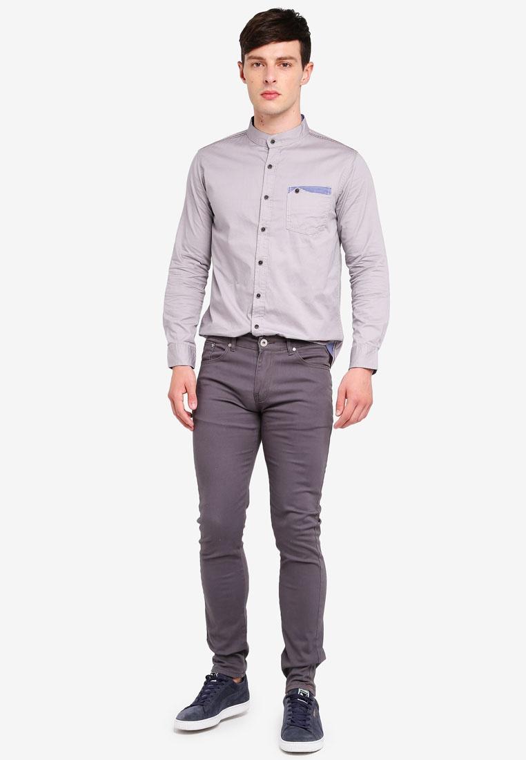 Fidelio Collar Button Shirt Sleeves Long Grey Pocket Mandarin gAqw7YY