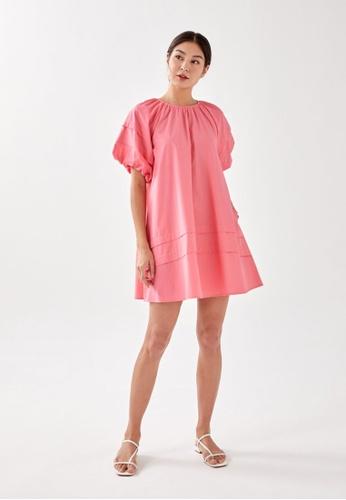 Love, Bonito pink Mikay Puff Sleeve Trapeze Dress 1A84BAA30ECB6BGS_1