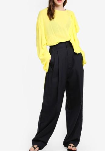 MANGO blue Cotton Wool-Blend Trousers MA193AA76KJJMY_1