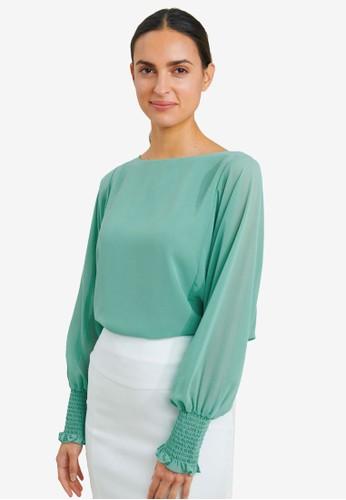 FORCAST green Priya Shirred Cuff Blouse 3D51AAA1524594GS_1