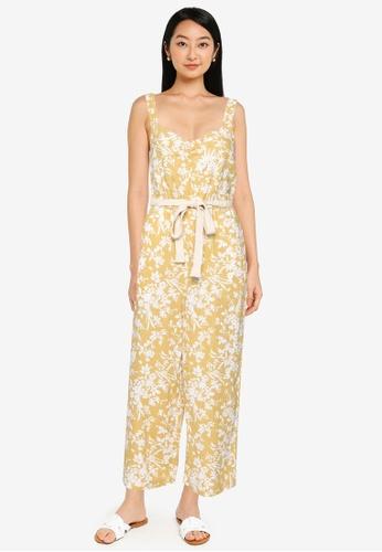 Springfield yellow Printed Linen Jumpsuit E2DE4AA8EE42FDGS_1