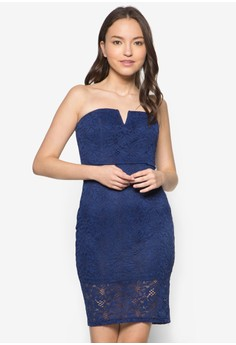 Love Lace Panelled Hem Bodycon Dress