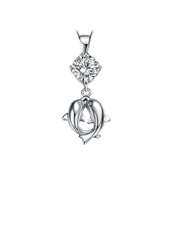 Glamorousky white 925 Sterling Silver Dolphin Pendant with Cubic Zircon and Necklace 321FFAC5A1F5EDGS_1