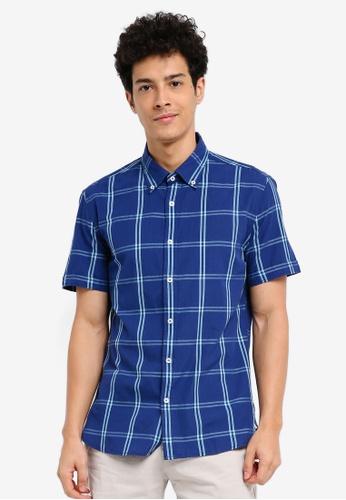 MANGO Man 藍色 短袖格紋襯衫 46C37AAF819352GS_1